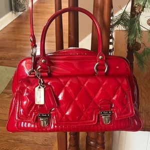 Large Red Patent Leather Coach Bag